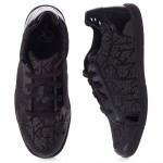 CALVIN KLEIN Girls Black Patent Logo Trainers 1