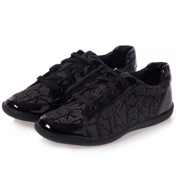 CALVIN KLEIN Girls Black Patent Logo Trainers