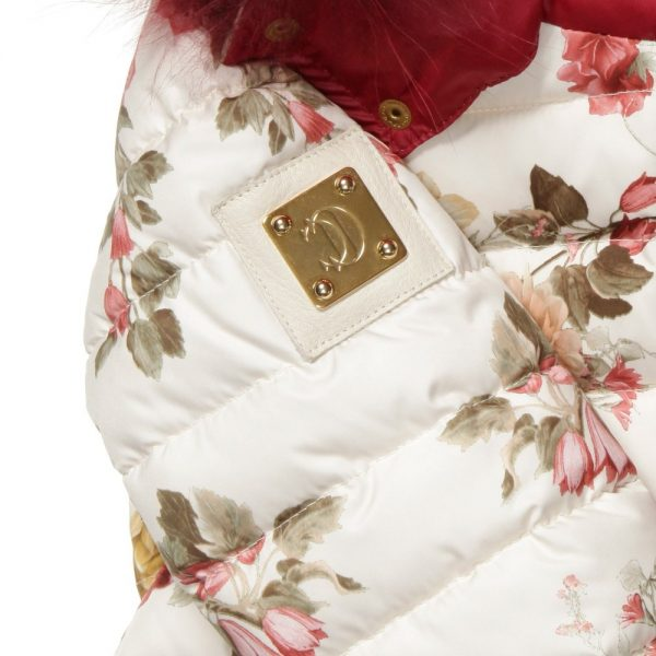 CANZITEX Ivory Quilted Floral Down Padded Jacket 4