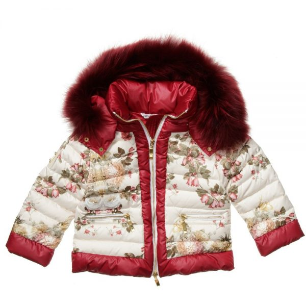 CANZITEX Ivory Quilted Floral Down Padded Jacket