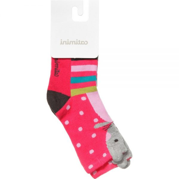 CATIMINI Baby Girls Pink Mouse Socks 1