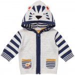 CATIMINI Grey Zip-Up Cardigan with Tiger Ears Hood