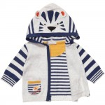 CATIMINI Grey Zip-Up Cardigan with Tiger Ears Hood 2