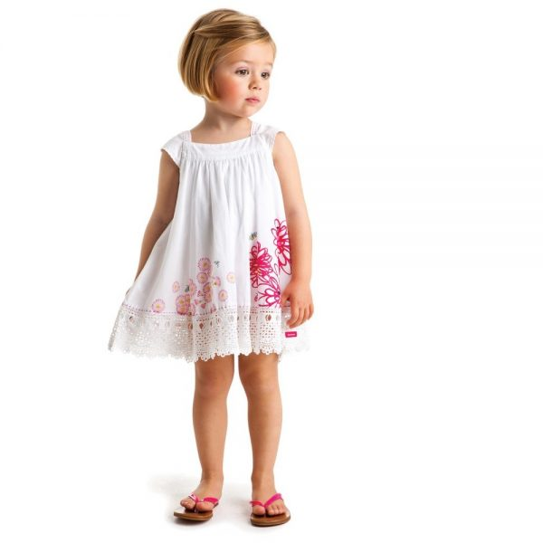 CATIMINI White Cotton Floral Dress with Lace Hem 1