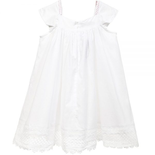CATIMINI White Cotton Floral Dress with Lace Hem 2