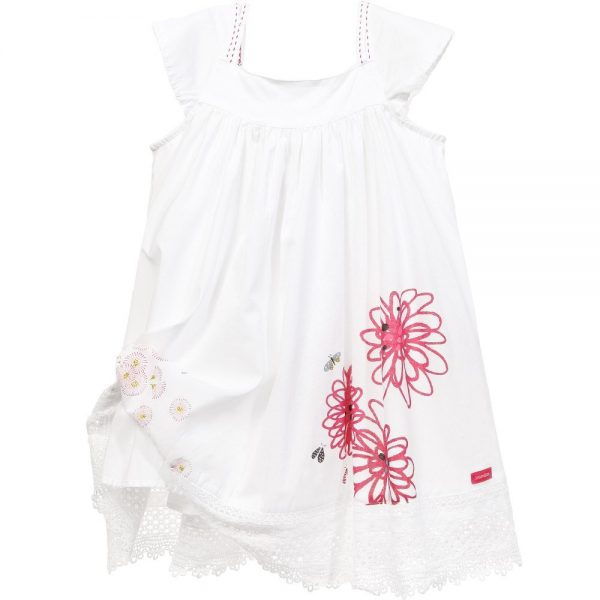 CATIMINI White Cotton Floral Dress with Lace Hem 3