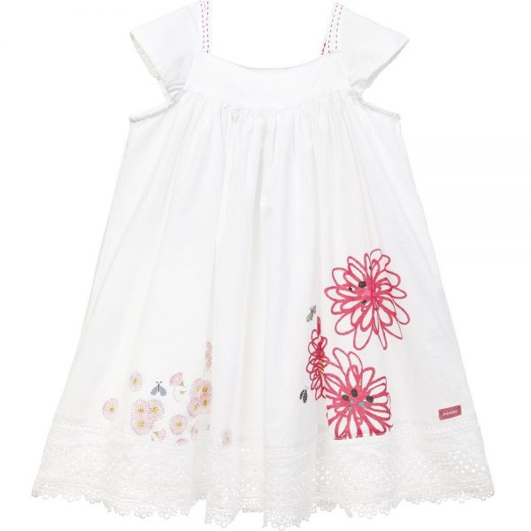 CATIMINI White Cotton Floral Dress with Lace Hem