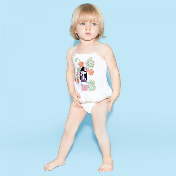 Little Marc Jacobs Baby Girls White Miss Marc Swimsuit