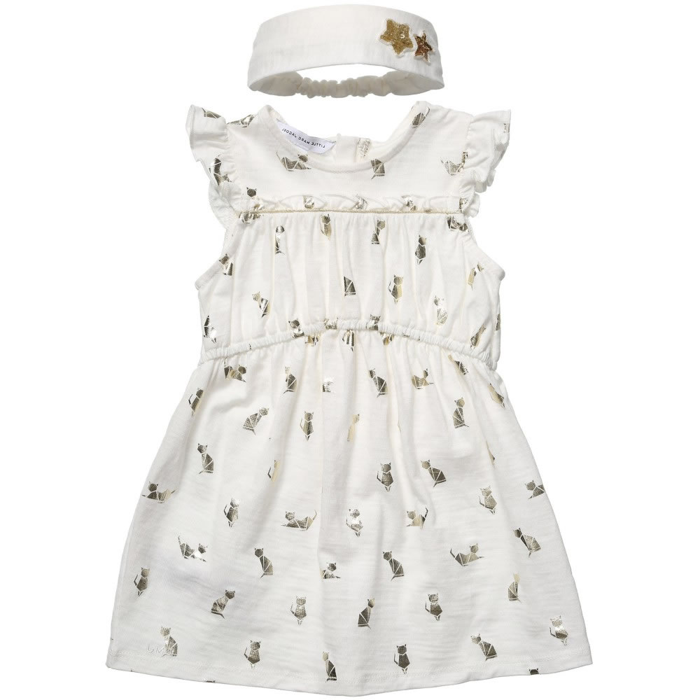 LITTLE MARC JACOBS Gold Cat Dress With Hairband