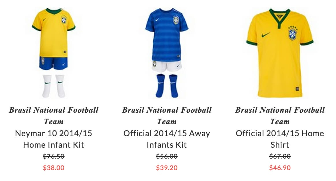 Brasil National Football Team kids clothing
