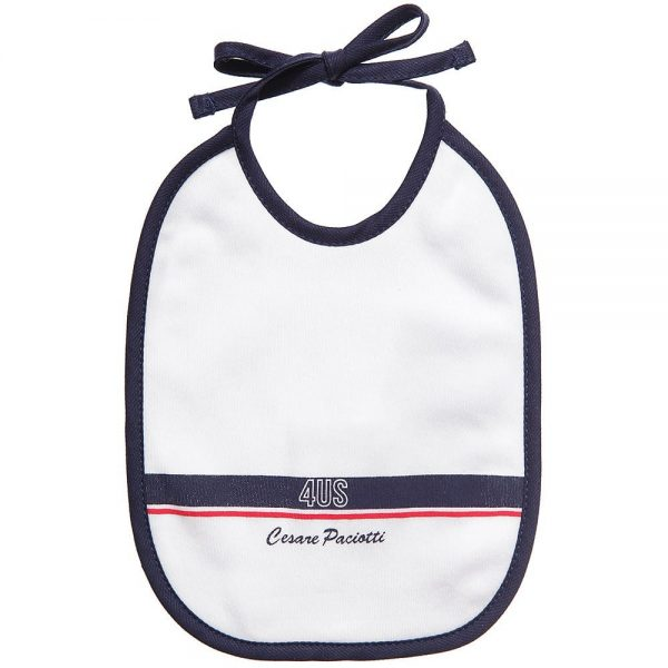 CESARE PACIOTTI 4US Baby Boys White Cotton Bibs (Pack Of 2 ) 1