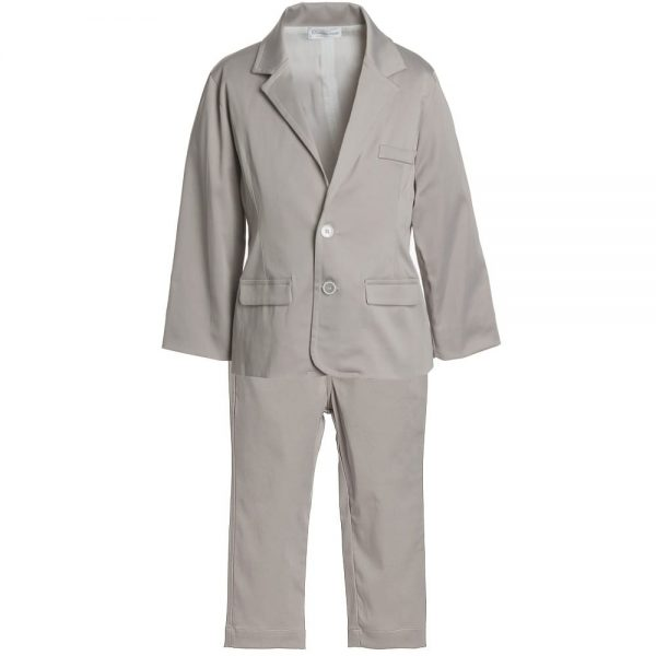 CICCINO Boys Beige Cotton 2-Piece Suit