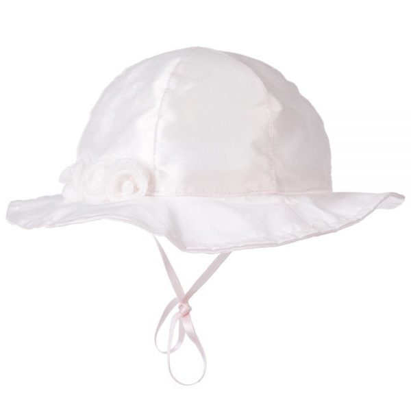 CICCINO Girls Pale Pink Cotton Sun Hat with Rosettes 1