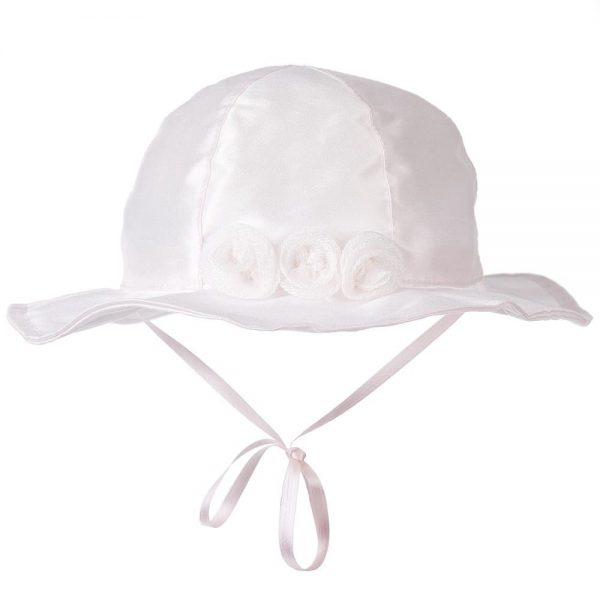CICCINO Girls Pale Pink Cotton Sun Hat with Rosettes