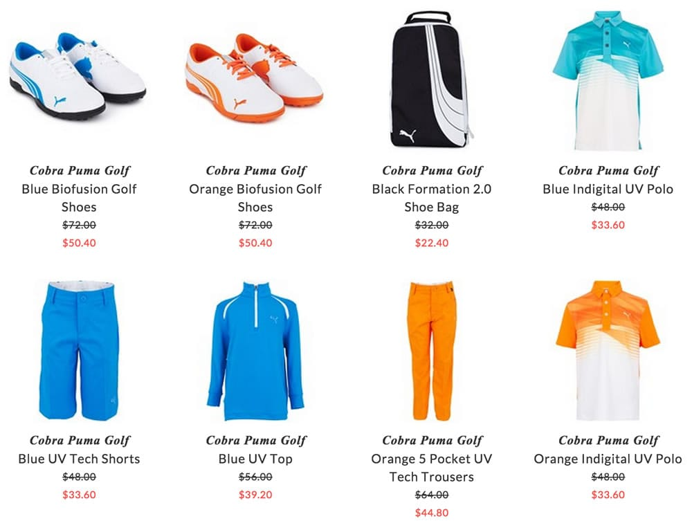 Cobra Puma Golf children sport clothes