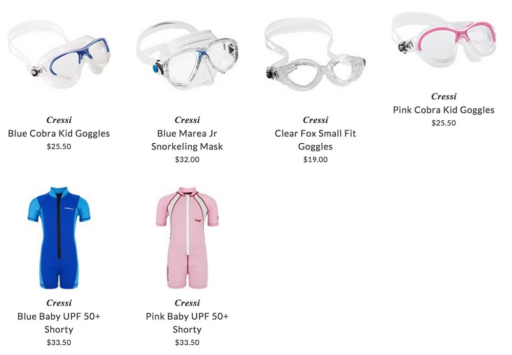 Cressi kids clothing & accessories for water sport