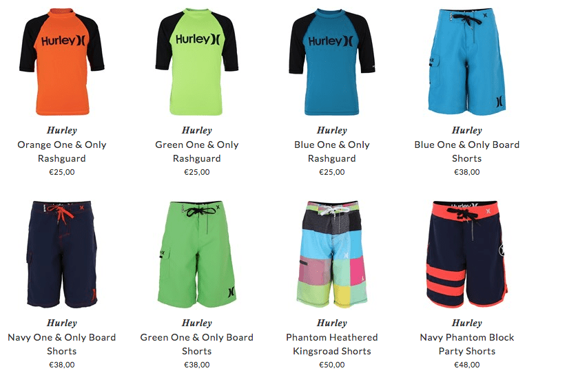 Hurley kids water sport clothing