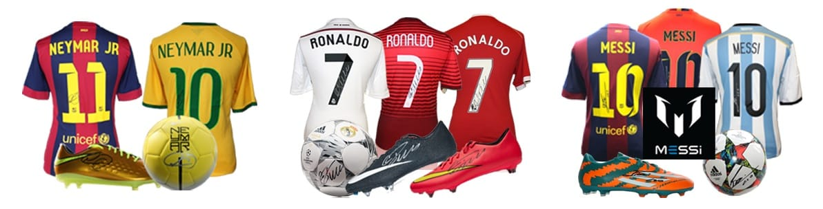 Icons kids football clothing & shoes with authentic signatures