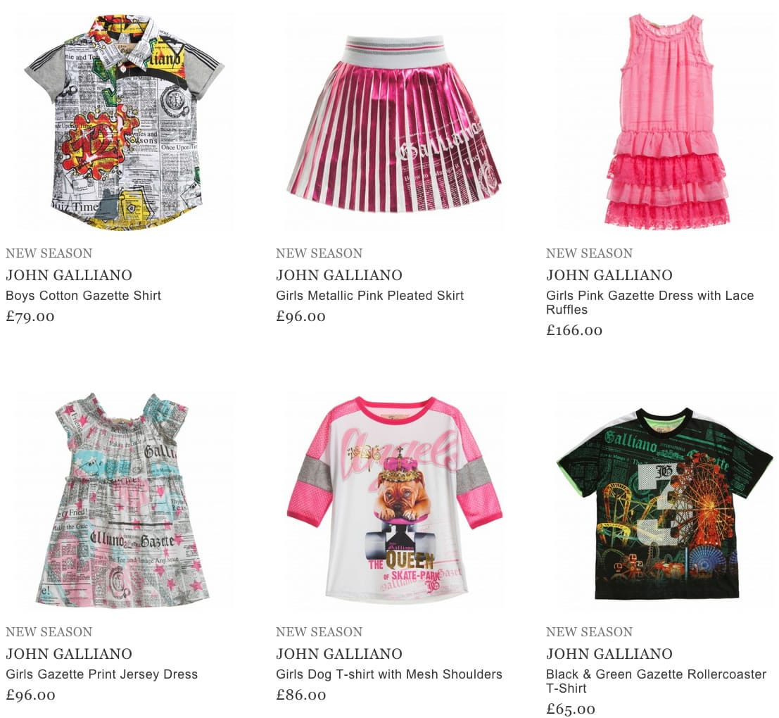 John Galliano Kids Clothing