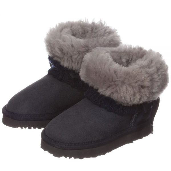 LOVE FROM AUSTRALIA Navy Blue Sheepskin 'Cozi Cable Bow' Boots1