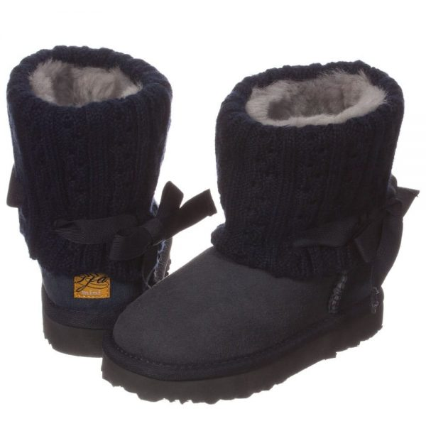 LOVE FROM AUSTRALIA Navy Blue Sheepskin 'Cozi Cable Bow' Boots3