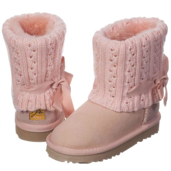 LOVE FROM AUSTRALIA Pink Sheepskin 'Cozi Cable Bow' Boots1