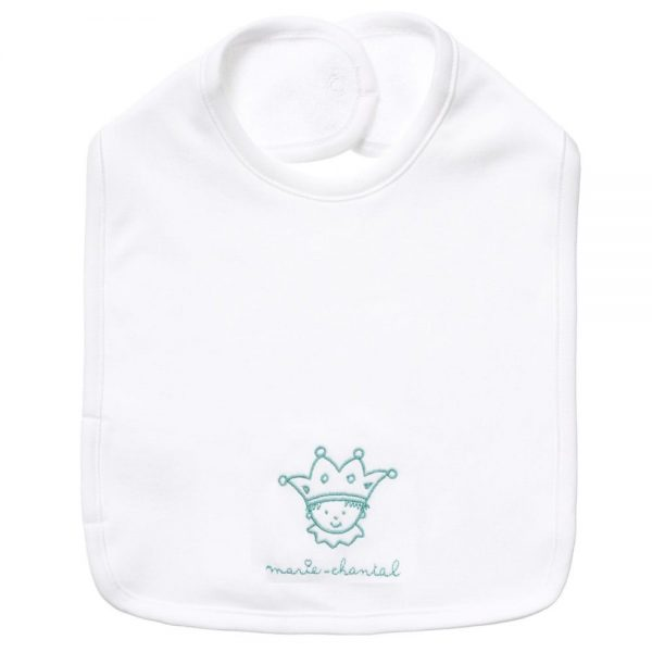 MARIE-CHANTAL Baby Boys White Bib with Blue Logo1
