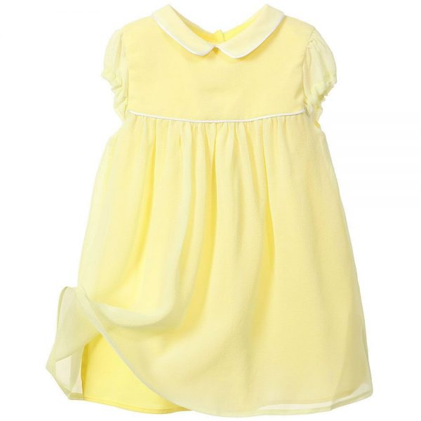 MARIE-CHANTAL Baby Girls Yellow Silk Dress2