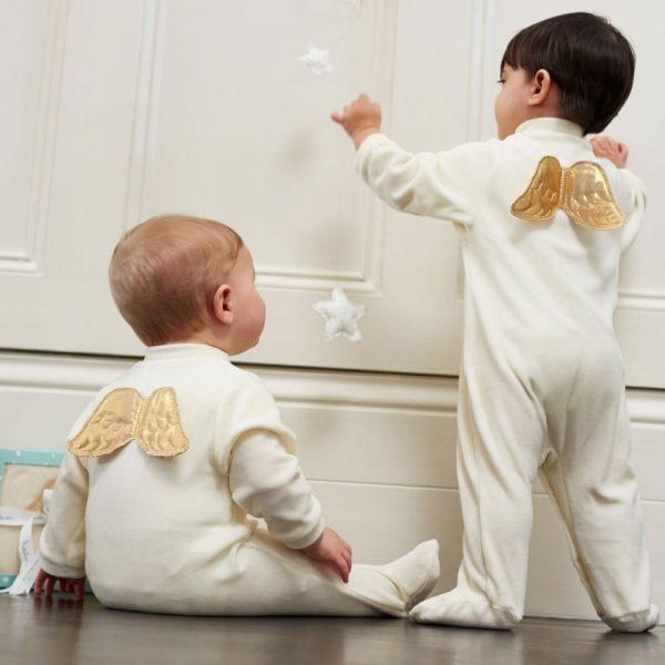 MARIE-CHANTAL Ivory Velour Babygrow with Gold Angel Wings
