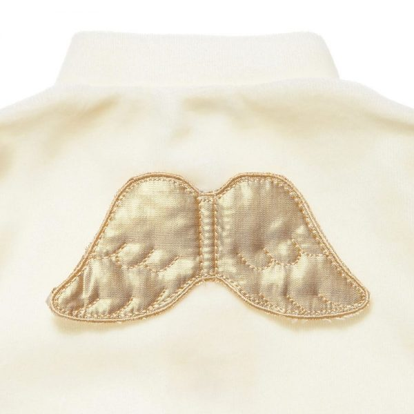 MARIE-CHANTAL Ivory Velour Babygrow with Gold Angel Wings1
