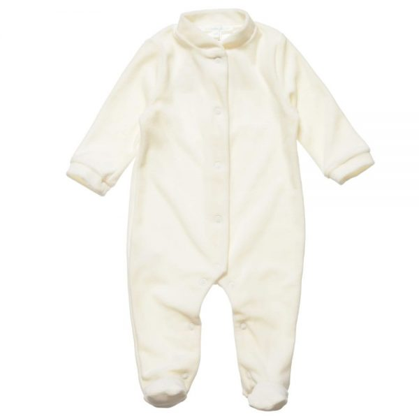 MARIE-CHANTAL Ivory Velour Babygrow with Gold Angel Wings2