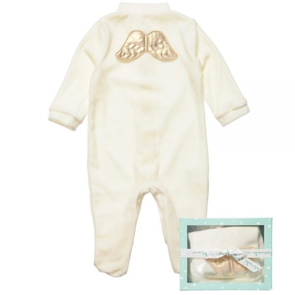 MARIE-CHANTAL Ivory Velour Babygrow with Gold Angel Wings3
