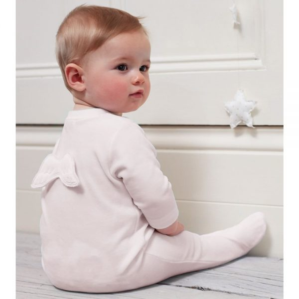 MARIE-CHANTAL Pink Velour Babygrow with Angel Wings2
