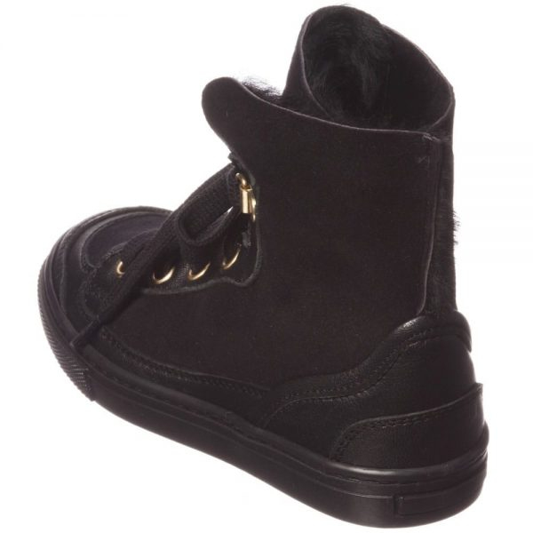 MI MI SOL Black Sheepskin High-Top Trainers