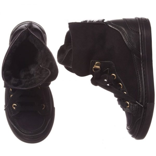 MI MI SOL Black Sheepskin High-Top Trainers1