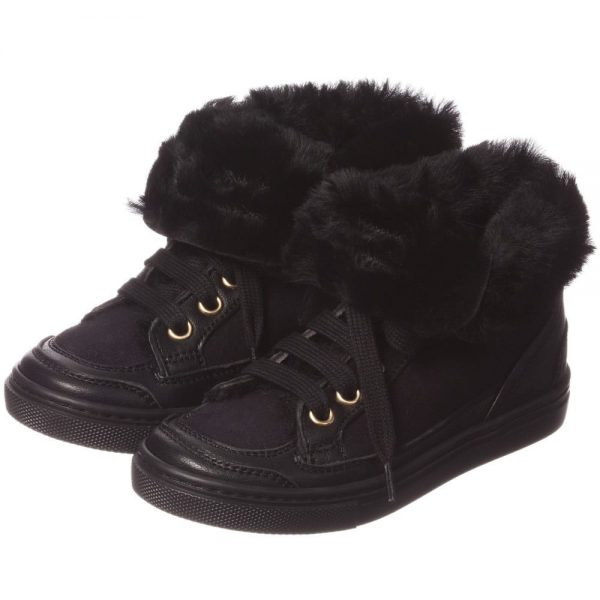 MI MI SOL Black Sheepskin High-Top Trainers2