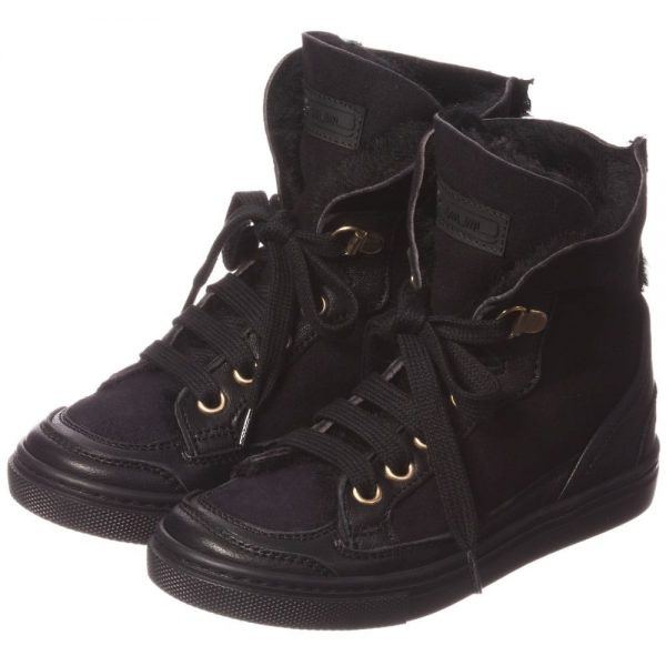 MI MI SOL Black Sheepskin High-Top Trainers3