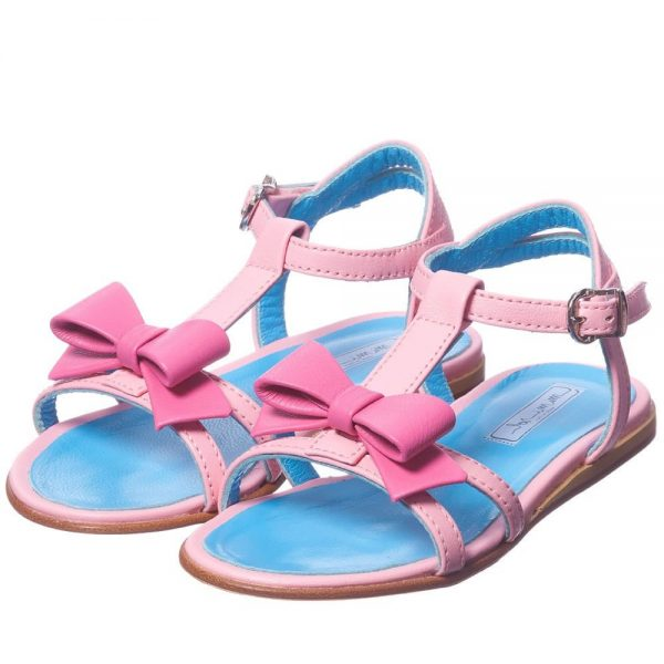 MI MI SOL Girls Pink Leather Bow Sandals1