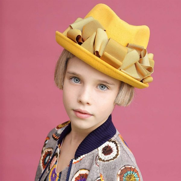 MI MI SOL Girls Yellow Felt Hat2