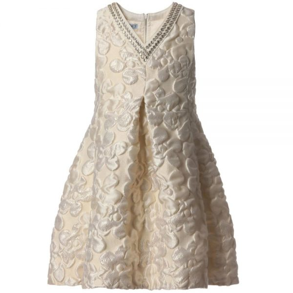 MI MI SOL Ivory and Gold Dress1