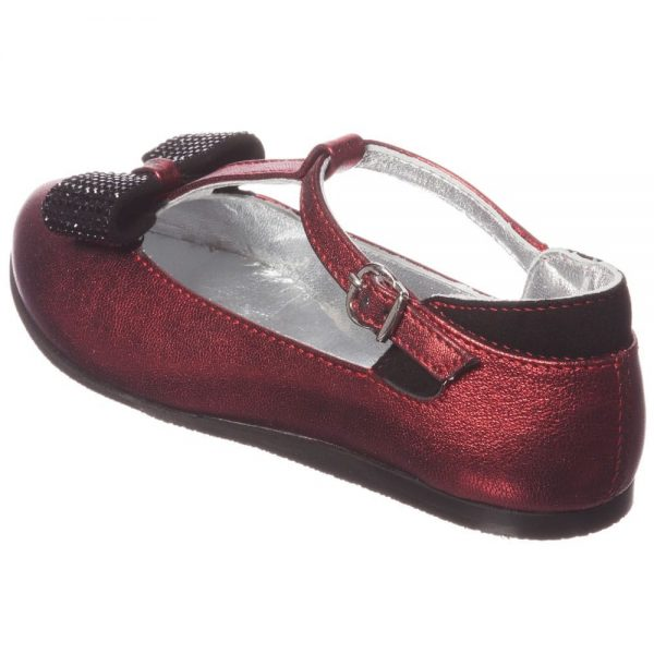 MI MI SOL Red Leather T-Bar Shoe with Bow