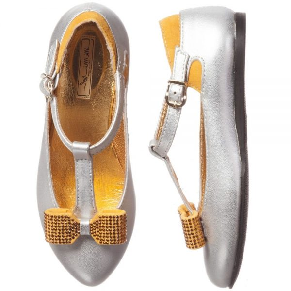 MI MI SOL Silver Leather T-Bar Shoe with Bow