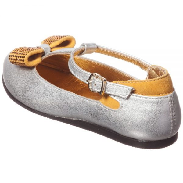 MI MI SOL Silver Leather T-Bar Shoe with Bow3