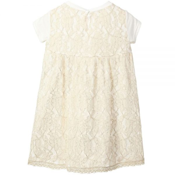 MICROBE BY MISS GRANT Ivory & Gold Jersey Dress with Lace Inserts