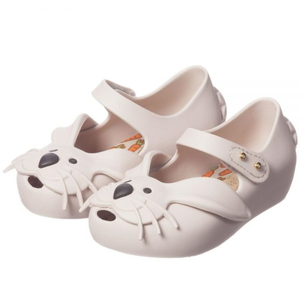 MINI MELISSA Girls Ivory Rabbit Jelly Shoes1