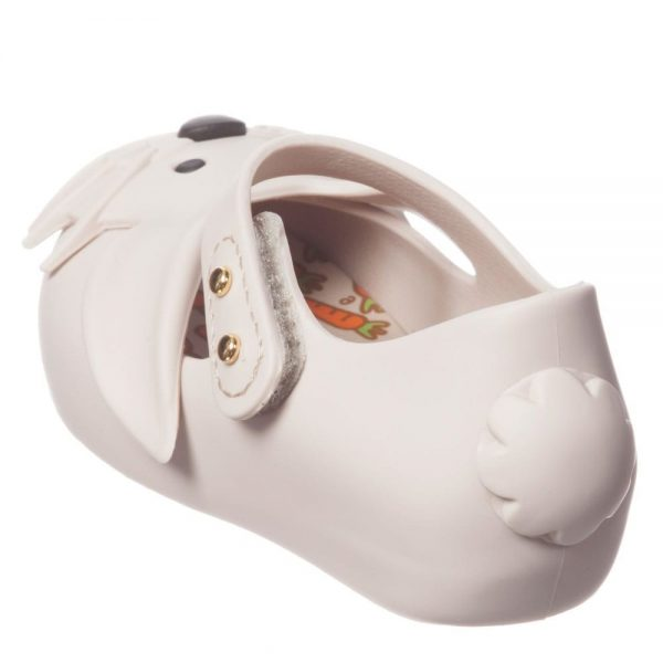 MINI MELISSA Girls Ivory Rabbit Jelly Shoes2