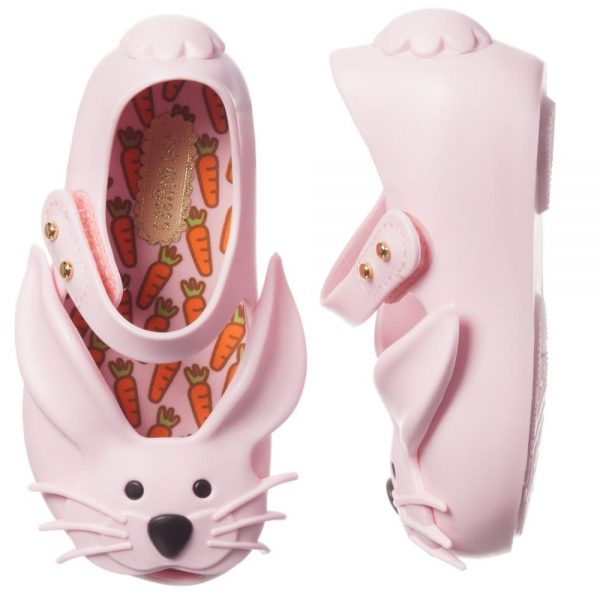 MINI MELISSA Girls Pink Rabbit Jelly Shoes2
