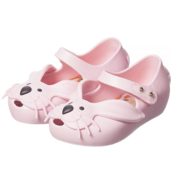 MINI MELISSA Girls Pink Rabbit Jelly Shoes4