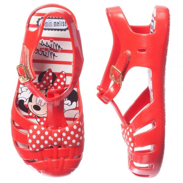 MINI MELISSA Girls Red Minnie Mouse Jelly Sandals2