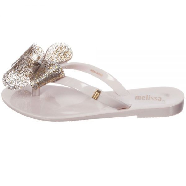 176512ab45f33a MINI MELISSA Ivory Jelly Flip-Flops with Bow - Children Boutique